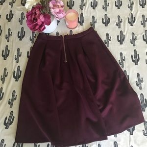 b3b6b5e20f Chelsea & Theodore Skirts - Chelsea & Theodore Wine Inverted Pleat Skirt